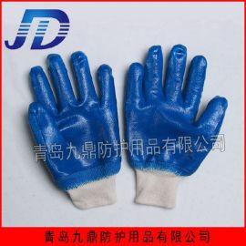 罗口全浸胶蓝丁腈棉毛里布保暖批发外贸出口劳保防护手套
