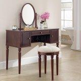 美式簡約實木梳妝臺小戶型多功能化妝桌妝凳櫻桃色