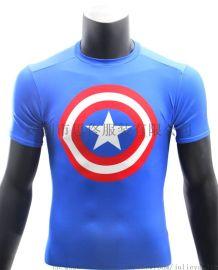 COOLMAX短袖紧身衣数码印花压缩衣马拉松跑步衫团体马拉松跑步衫