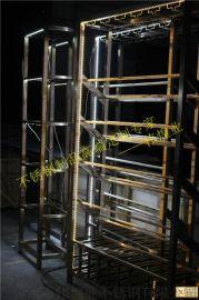 酒店專用拉絲玫瑰金組合型不鏽鋼酒架