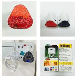 新款英規手機充電器 旅充 電鍍雙USB輸出充電頭 英規充電器
