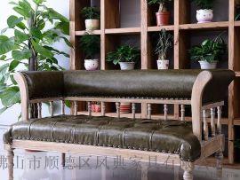 胡桃里音乐主题餐厅家具漫咖啡厅复古做旧实木沙发桌椅可定制