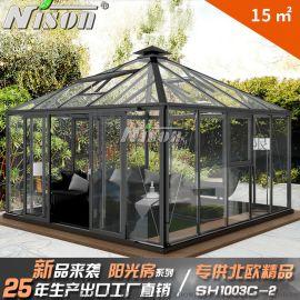 绿森铝合金玻璃房 高端阳光房 欧式阳光房 斜顶阳光房