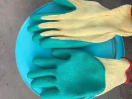 10针5股21支纱黄色涤纶丝掌浸绿色乳胶起皱手套