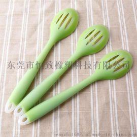 食品级耐高温硅胶一体式漏勺 硅胶半透防烫漏勺