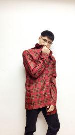 红色格子时尚雨衣防泼水夹克雨衣 长风衣