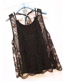 透视网纱珠子透明蕾丝刺绣重工打底无袖背心亮片两件套小吊带