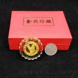 鸡年水晶月饼金箔工艺摆件 中秋开业庆典活动赠送礼品