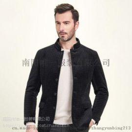 秋季男士西服商务休闲黑色立领单西外套4b71 化纤面料 商务休闲 优雅素色