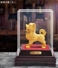供應絨沙金狗工藝品 狗年生肖 擺件 創意家居裝飾禮品 狗年旺福新品 活動贈品