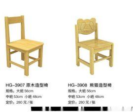 幼儿园原木系列桌椅图片
