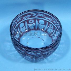 套皮刻花玻璃果盘 纯手工制作 人工吹制精美礼品饰品套装家居摆饰