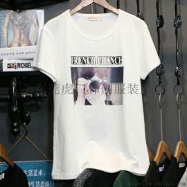 工厂清仓换季女装短袖韩版修身女装T恤时尚百搭女式T恤几元清仓批发