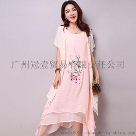 中國風新品 刺繡印花背心裙+純色披肩外套 民族風兩件套連衣裙