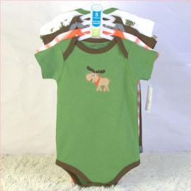 荆州婴儿外贸服装批发纯棉短袖三角哈衣