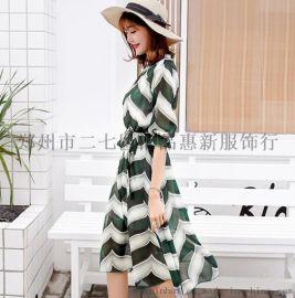新款雪紡連衣裙女春夏季中長款小個子顯瘦高腰裙子