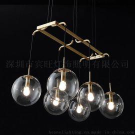 后现代简约客厅玻璃吊灯多头 餐厅服装店创意工作室展厅工程吊灯