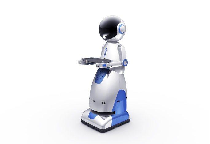 人工智能科技智能送餐服务机器人-厂家直供-无轨运行稳定性高