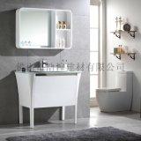 浩湟CUPC北欧现代多层实木夹板浴室柜组合玻璃洗手洗脸台面落地式柜TU-1001