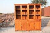 東陽卓瑞紅木家具紅木書櫃古典實木環保刺蝟紫檀花鳥書櫃二組合