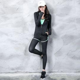 瑜伽服外套套装 女跑步假两件运动九分长裤显瘦外套速干运动批发