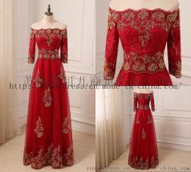 2018 酒红色礼服 Party Dresses