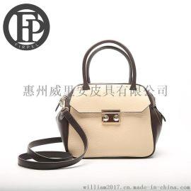 2色欧美风格时尚真皮包,真皮系列女士手提斜挎包