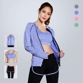 秋冬时尚新款瑜伽服女士运动健身套装跑步三件套速干内衣外套长裤