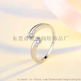 简约925银镶嵌锆石开口女式戒指  饰品批发厂家