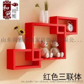 牆上置物架壁掛創意格子隔板牆面裝飾書架