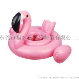 厂家直销环保PVC充气火烈鸟儿童游泳座圈