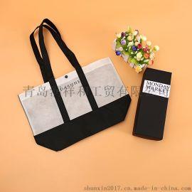 即墨无纺布购物袋环保袋购物覆膜袋子广告手提袋现货立