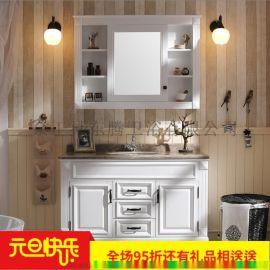 美式實木橡木浴室櫃組合實木洗漱臺盆衛生間