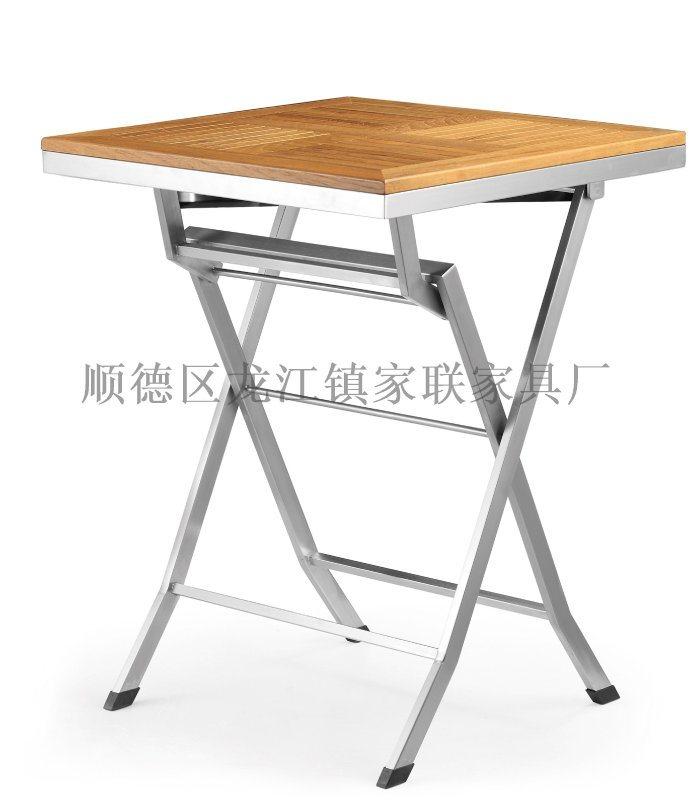 【家联家具】OP-T07高档不锈钢户外休闲野餐塑木柚木餐桌可折叠