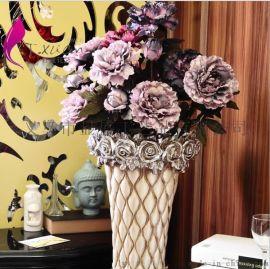 欧式落地高仿真牡丹花束 客厅高档假花装饰花艺套装 家居软装摆件
