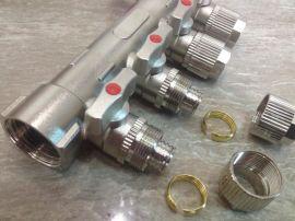 家庭採暖用 地熱分水器 地暖純銅鍍鎳分水器