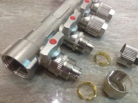 家庭采暖用 地热分水器 地暖纯铜镀镍分水器