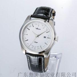 热销货源手表 男士时尚不锈钢带石英表银色复古手表批发可定制