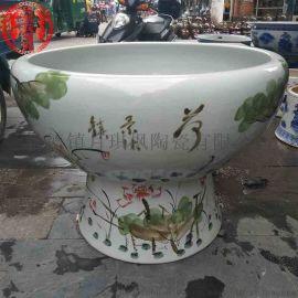 景德镇陶瓷鱼缸 青花瓷带瓷底座水浅金鱼缸