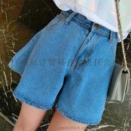 韩版新款 时尚纯色 休闲百搭裙摆式牛仔短裤