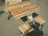 木質連體折疊桌椅、木頭面板戶外休閒折疊桌椅、聯體折疊桌