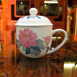 银银瓷器国色天香陶瓷杯釉下五彩瓷商务礼品定制