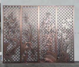 精美定制铝雕门花 酒店大堂装饰铝板镂空雕刻屏风厂家