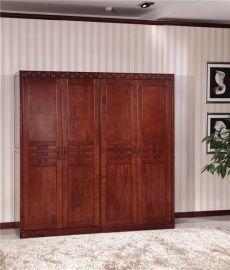 新中式實木衣櫥四五六門組合衣櫃臥室環保低甲醛實木家具