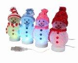 工廠直銷USB LED七彩聖誕雪人聖誕發光禮品