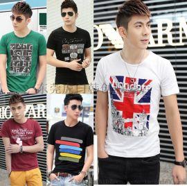 夏季新款便宜男装短袖韩版时尚款男装T恤圆领印花棉t