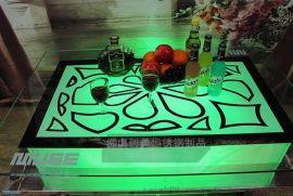 【訂做】酒吧綠色發光不鏽鋼茶幾 不鏽鋼雕花茶幾 耐氧化 耐腐蝕