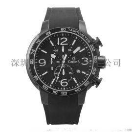新款男士休闲手表石英表运动不锈钢防水腕表