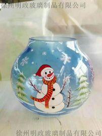 手绘玻璃工艺品,蜡烛杯深加工,玻璃器皿冰花效果