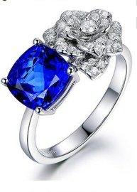 18K白金坦桑蓝宝石戒指, 高级珠宝坦桑石钻戒结婚戒指, 18k金嵌钻坦桑石戒指